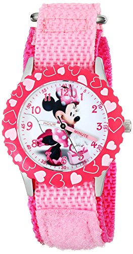 Disney Kids Minnie Mouse Stainless Steel Time Teacher Watch W001576 Pink Nylon Band