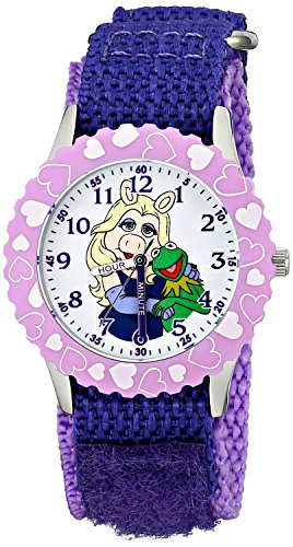 Disney Kids The Muppets Piggy and Kermit Stainless Steel Watch W001622 Purple Nylon Strap Analog Display Purple Watch