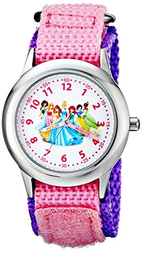 Disney Kids Princess Stainless Steel Plain Case W001800 Pink Nylon Strap Analog Display Pink Watch