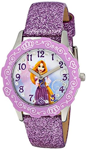 Disney Kids Rapunzel Stainless Steel and Purple Glitter Leather Strap Watch W001601 Analog Display Purple Watch