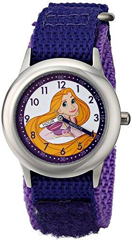 Disney Kids Rapunzel Stainless Steel Plain Case W001804 Purple Nylon Strap Analog Display Purple Watch