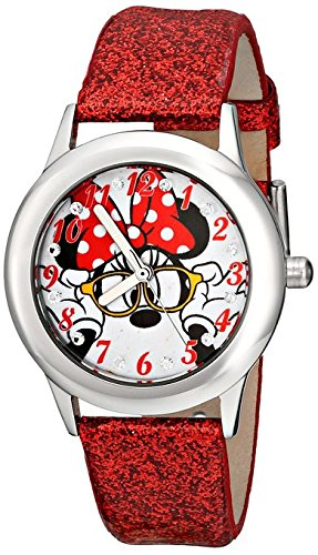 Disney Kids Minnie Mouse Stainless Steel Plain Case and Red Glitter Leather Strap Watch W001595 Analog Display Red Watch