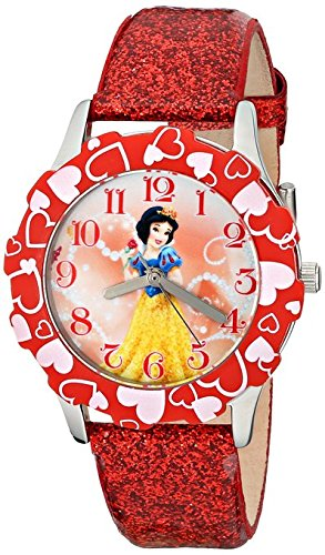 Disney Kids Snow White Stainless Steel and Red Glitter Leather Strap Watch W001599 Analog Display Red Watch