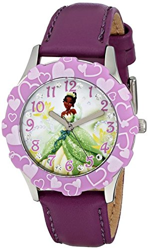 Disney Kids Tiana Stainless Steel and Purple Leather Strap Watch W001600 Analog Display Purple Watch