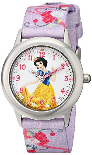 Disney Kids Snow White Stainless Steel and Printed Strap Watch W001581 Analog Display Purple Watch