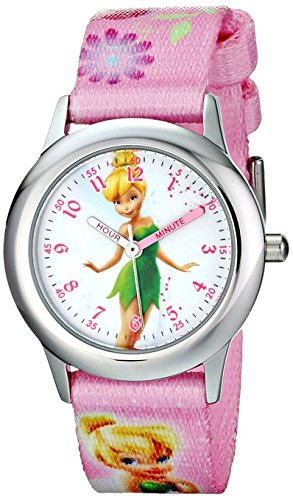 Disney Kids Tinker Bell Stainless Steel Plain Case W001582 Printed Strap Analog Display Pink Watch