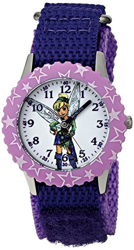 Disney Kids Tinker Bell Stainless Steel W001584 Purple Nylon Strap Analog Display Purple Watch