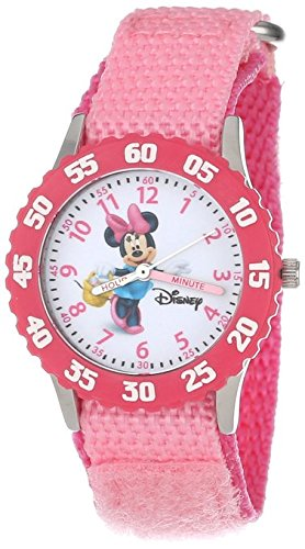 Disney Kids W000024 Minnie Mouse Time Teacher Stainless Steel Watch with Pink Nylon Band
