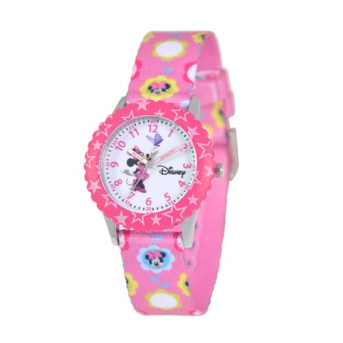 Disney Kids W000031 Minnie Mouse Time Teacher Stainless Steel Watch with Printed Band