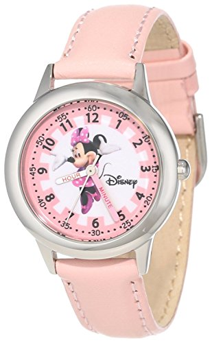 Disney Kids W000038 Minnie Mouse Time Teacher Stainless Steel Watch with Pink Leather Band