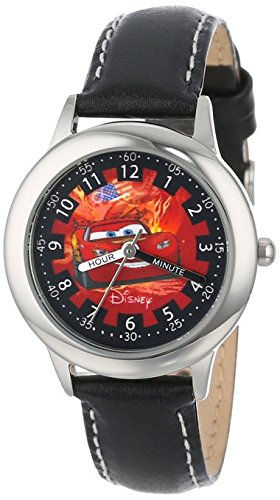 Disney Kids W000092 Cars Stainless Steel Time Teacher Watch with Leather Band