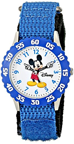 Disney Kids W000228 Time Teacher Stainless Steel Watch with Blue Nylon Band