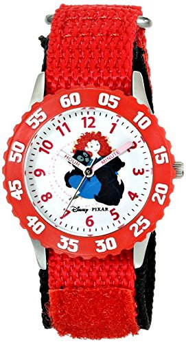 Disney Kids W000261 Brave Stainless Steel Time Teacher Watch with Red Nylon Band