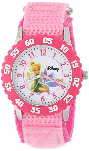 Disney Kids W000269 Tinker Bell Time Teacher Stainless Steel Watch with Pink Nylon Band
