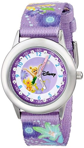 Disney Kids W000278 Tinker Bell Glitz Stainless Steel Time Teacher Printed Strap Watch