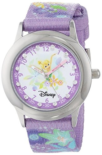 Disney Kids W000279 Tinker Bell Glitz Stainless Steel Time Teacher Printed Strap Watch
