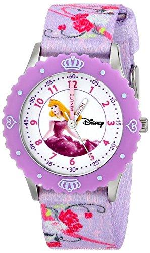Disney Kids W000366 Aurora Time Teacher Stainless Steel Watch with Printed Strap
