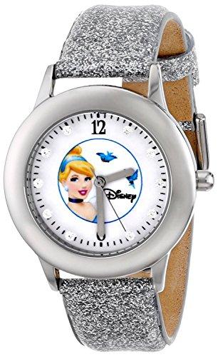 Disney Kids W000391 Tween Glitz Cinderella Stainless Steel Silver Glitter Leather Strap Watch