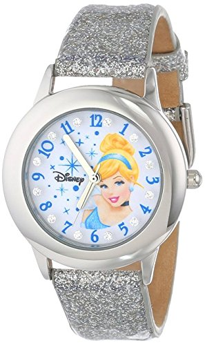 Disney Kids W000392 Tween Cinderella Glitz Stainless Steel Watch with Silver Glitter Band