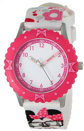 Disney Kids W000414 Minnie Mouse Stainless Steel Pink Bezel Printed Strap Watch