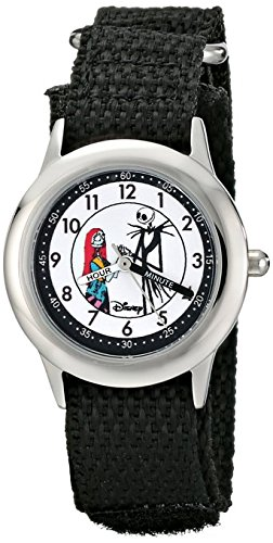 Disney Kids W000453 Jack and Sally Stainless Steel Time Teacher Black Velcro Strap Watch