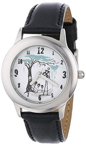Disney Kids W000457 Tween Jack Skellington Stainless Steel Black Leather Strap Watch