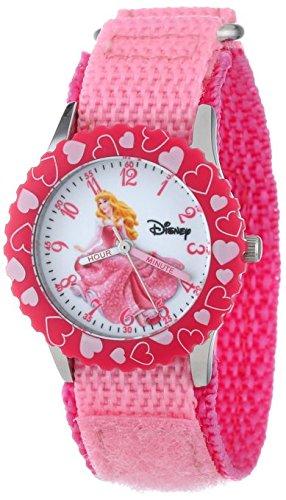 Disney Kids W000865 Aurora Stainless Steel Time Teacher Printed Bezel Pink Nylon Strap Watch
