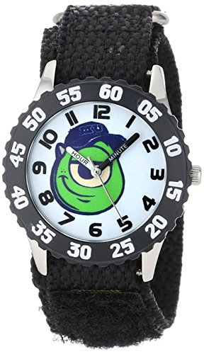 Disney Kids W000892 Mike Wazowski Stainless Steel Time Teacher Black Bezel Black Nylon Strap Watch