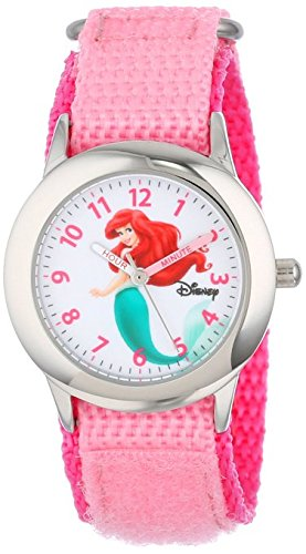 Disney Kids W000958 Ariel Stainless Steel Watch with Pink Nylon Band