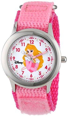 Disney Kids W000962 Aurora Glitz Stainless Steel Time Teacher Watch With Pink Nylon Band