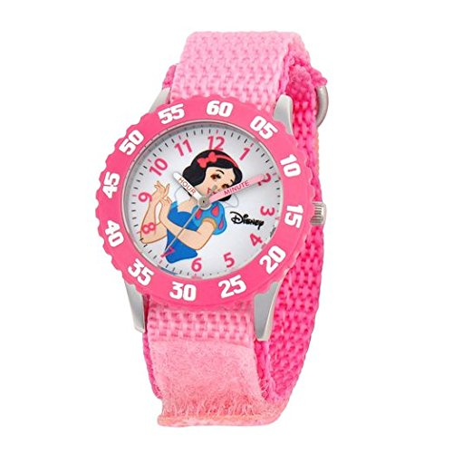 Disney Kids W000964 Snow White Stainless Steel Time Teacher Pink Watch