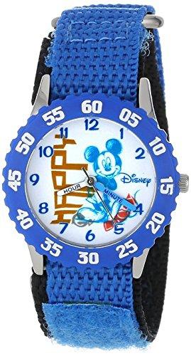 Disney Kids W000978 Mickey Stainless Steel Time Teacher Watch with Blue Nylon Strap