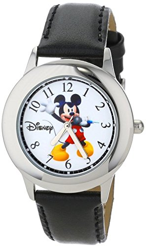 Disney Kids W000979 Tween Mickey Stainless Steel Watch with Black Faux Leather Strap