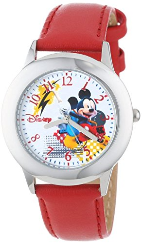 Disney Kids W000980 Tween Mickey Stainless Steel Watch with Red Faux Leather Strap