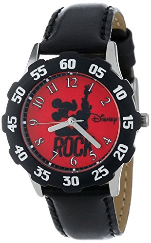 Disney Kids W000981 Tween Mickey Stainless Steel Watch with Faux Leather Strap