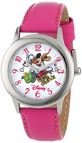 Disney Kids W000982 Tween Minnie and Daisy Glitz Stainless Steel Peach Leather Strap Watch