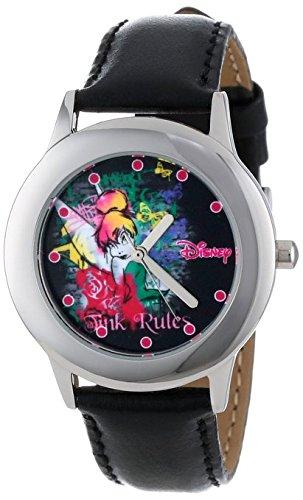Disney Kids W000987 Tween Tinker Bell Stainless Steel Black Leather Strap Watch