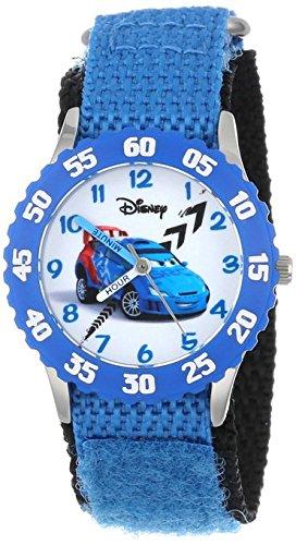 Disney Kids W001006 Cars Stainless Steel Time Teacher Blue Bezel Blue Nylon Strap Watch