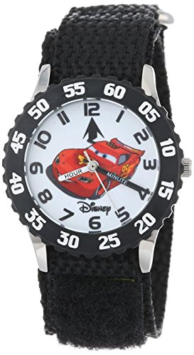 Disney Kids W001007 Time Teacher Cars Stainless Steel Watch With Black Nylon Band