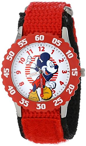 Disney Kids W001016 Mickey Stainless Steel Time Teacher Watch with Red Nylon Strap