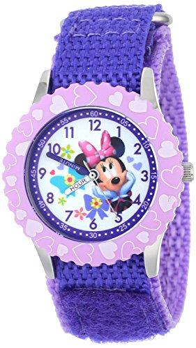 Disney Kids W001021 Minnie Time Teacher Stainless Steel Watch with Purple Nylon Band