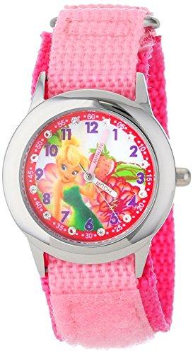 Disney Kids W001030 Tinker Bell Glitz Stainless Steel Pink Nylon Strap Watch