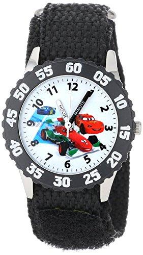 Disney Kids W001033 Cars Stainless Steel Time Teacher Black Bezel Black Nylon Strap Watch
