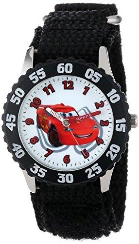 Disney Kids W001034 Cars Stainless Steel Time Teacher Black Bezel Black Nylon Strap Watch