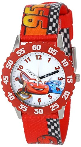 Disney Kids W001035 Time Teacher Cars Stainless Steel Watch With Printed Nylon Band
