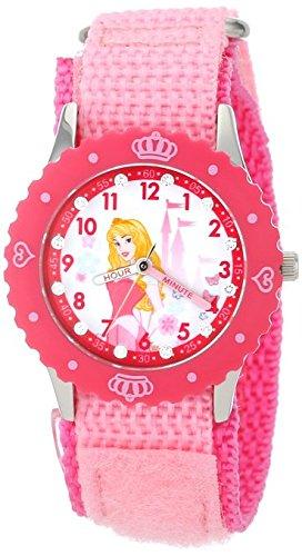 Disney Kids W001037 Aurora Glitz Stainless Steel Time Teacher Printed Bezel Pink Nylon Strap Watch