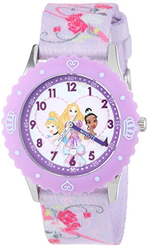 Disney Kids W001038 Princess Stainless Steel Printed Bezel Printed Strap Watch