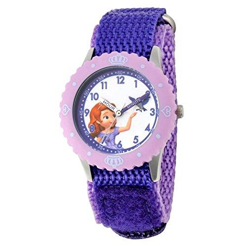 Disney Kids W001068 Sofia Time Teacher Stainless Steel Watch with Purple Nylon Band