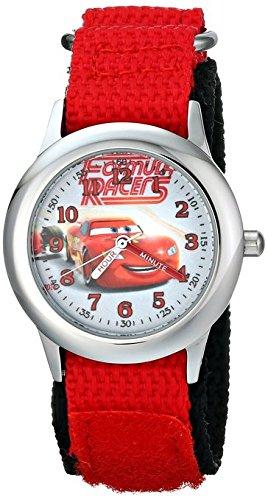 Disney Kids W001588 Time Teacher Lightning McQueen Stainless Steel Watch with Red Nylon Strap