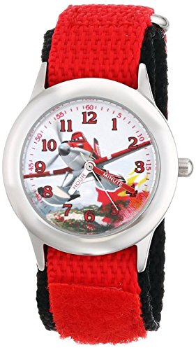 Disney Kids W001631 Time Teacher Planes Fire and Rescue Dusty Stainless Steel Watch with Red Nylon Strap